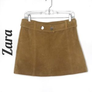 Zara mustard yellow faux suede mini skirt
